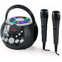 auna SingSing - Karaoke para niños, Set de Karaoke, 2 x micrófonos dinámicos, Reproductor de CD, Medios CD + G, Efecto de Eco, AVC, Salida de Video, Efecto de luz LED, Negro