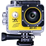 South Star Digital Sports Camera Video 4K WIFI Action Cam Underwater DV Camcorder HD 1080P 16MP 170 degree Wide-Angle Yellow