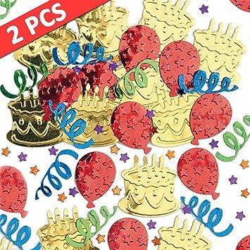 Forestwood Confeti Fiesta De Cumpleaños Lentejuelas Globo Torta Serpentinas Confeti Pegatinas De Alivio Rocía Decoraciones De Escritorio Regalos 2 Paquetes ...