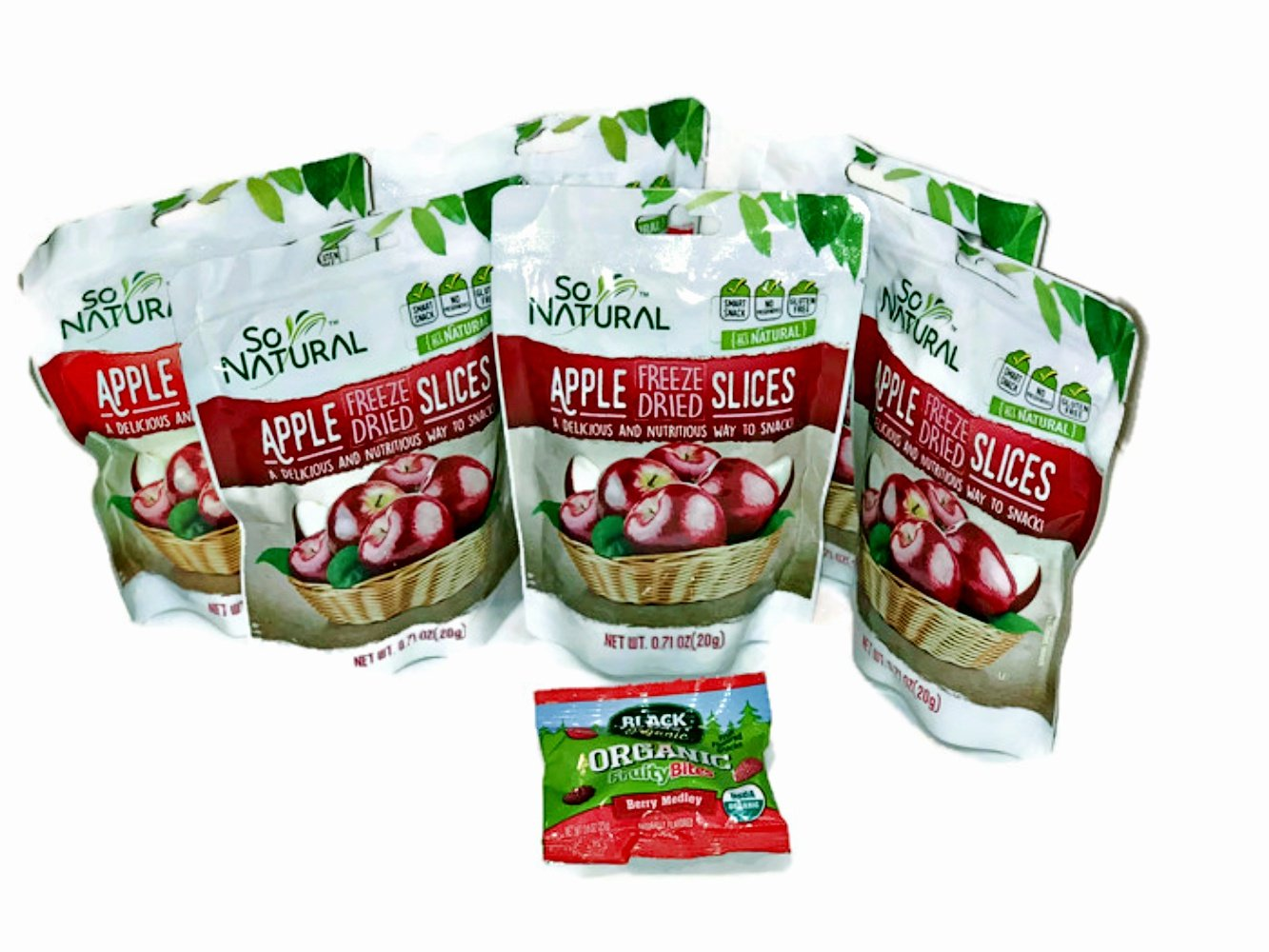 Freeze Dried Apples 6 packages PLUS 1 Extra Surprise Flavor Package AND Organic Fruity Bites by So Natural