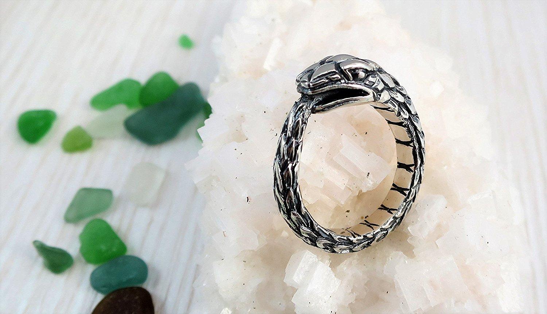 Ouroboros snake sterling silver earrings pair wide FREE SHIPPING big men's earrings
