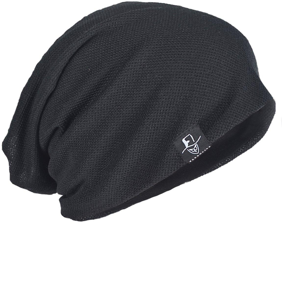 FORBUSITE Men Women Basic Slouch Thin Beanie Skull Cap for Summer B301 (Black)