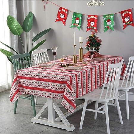 LYDCX Rayas Navidad Ciervos Mantel De Algodón Y Lino Decoración Navideña Tela Hotel Mantel Mesa De Café Cubierta De Tela Toalla Roja 140 * 180 Cm: Amazon.es: Hogar