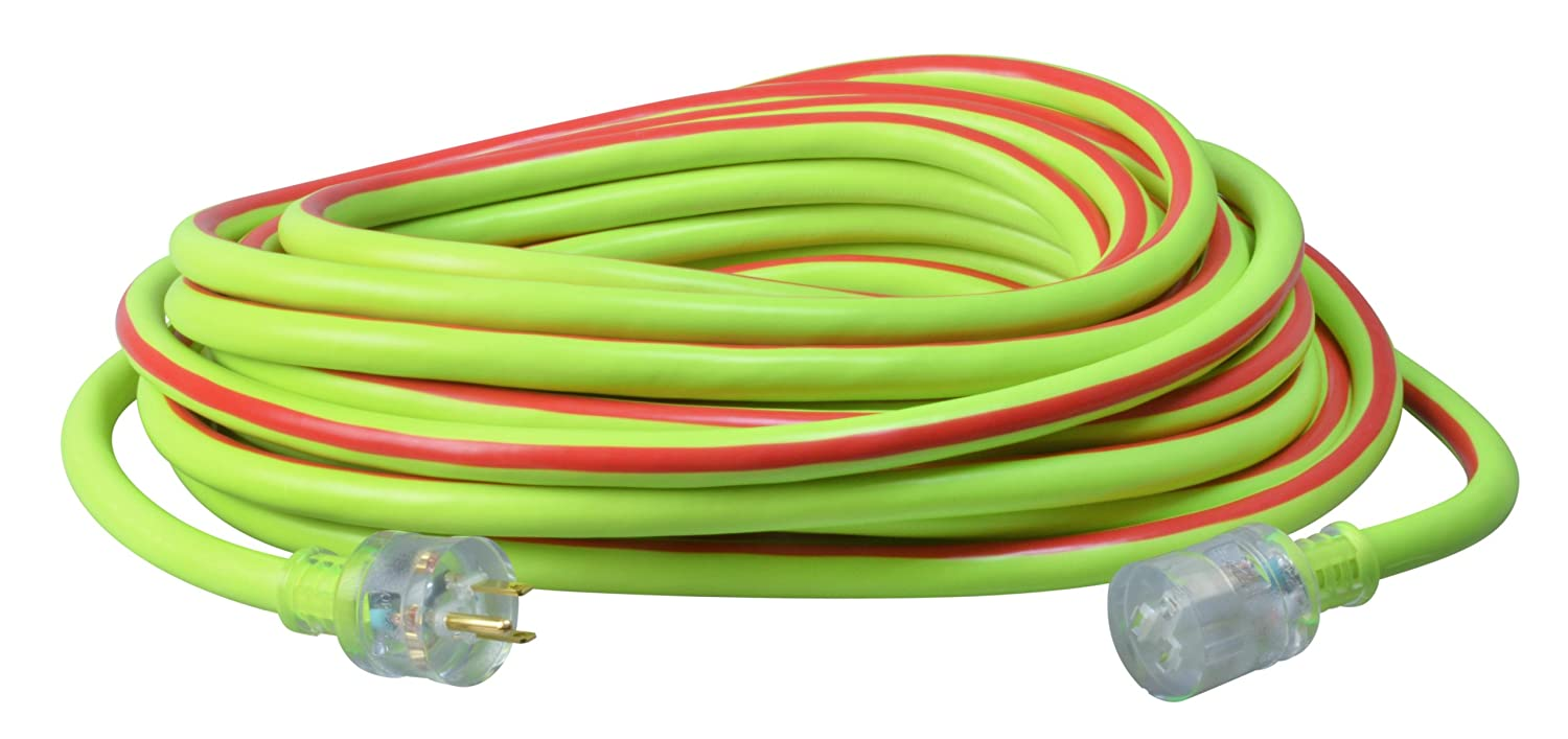 Coleman Cable 02648-00-64 10//3-Wire Gauge 50-Feet Neon Stripe Outdoor Extension Cord with Lighted Ends Blue//Red