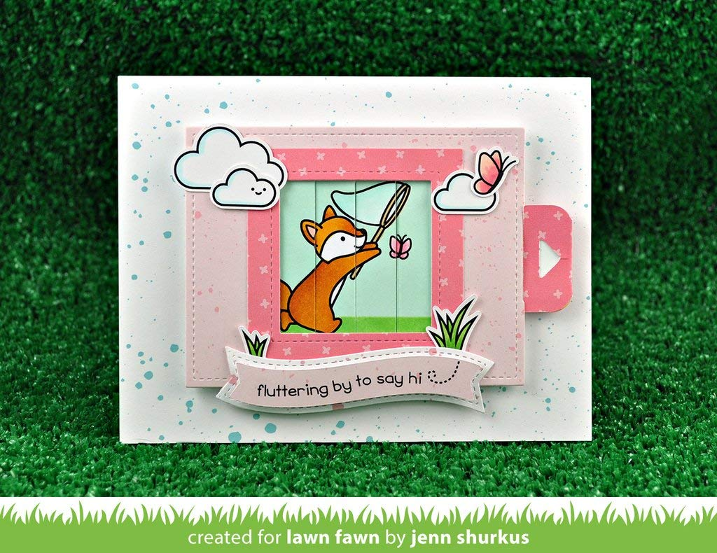 Lawn Fawn Butterfly Kisses Clear Stamp Set and Matching Lawn Cuts Die Set LF1882, LF1883 Bundle of Two Items