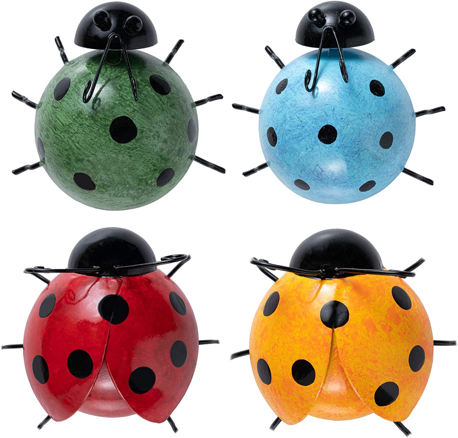 YEAHOME Cute Ladybugs Metal Wall Art, 3D Outdoor Wall Decor, Rustic Wall Sculptures & Statues for Farmhouse, Porch, Patio, Lawn, Fence, Backyard Set of 4