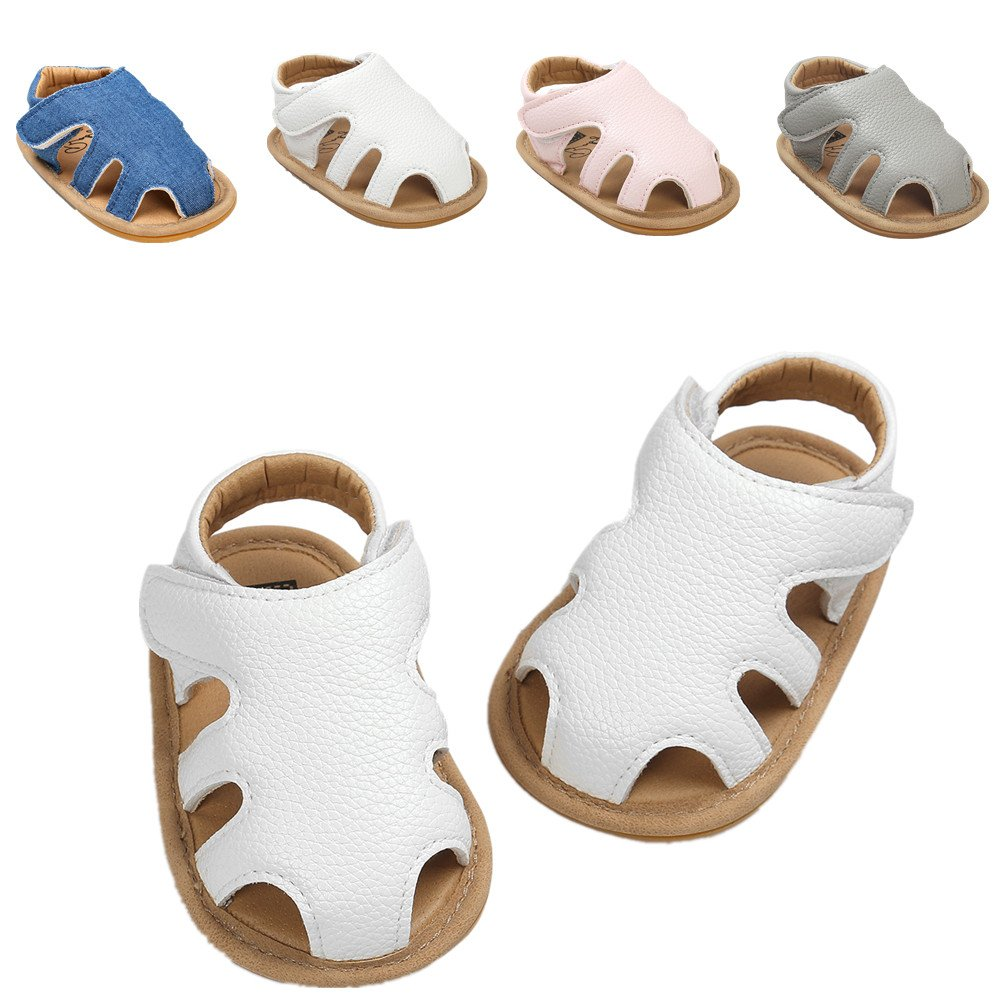 Isbasic Baby Pu Leather Sandals for Toddler Boy Girl Rubber Sole Anti-Slip Slippers Shoes