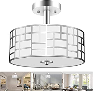 3-Light Semi Flush Mount Ceiling Light, Modern Hanging Kitchen Light Fixtures with Round Drum Steel and Glass Shade, Chrome Close to Ceiling Light Fixtures for Bedroom, Living Room by PARTPHONER