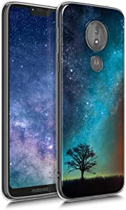 kwmobile Case Compatible with Motorola Moto G7 Power - Crystal TPU Cover with UV Print and Transparent Edge - Cosmic Nature Blue/Grey/Black