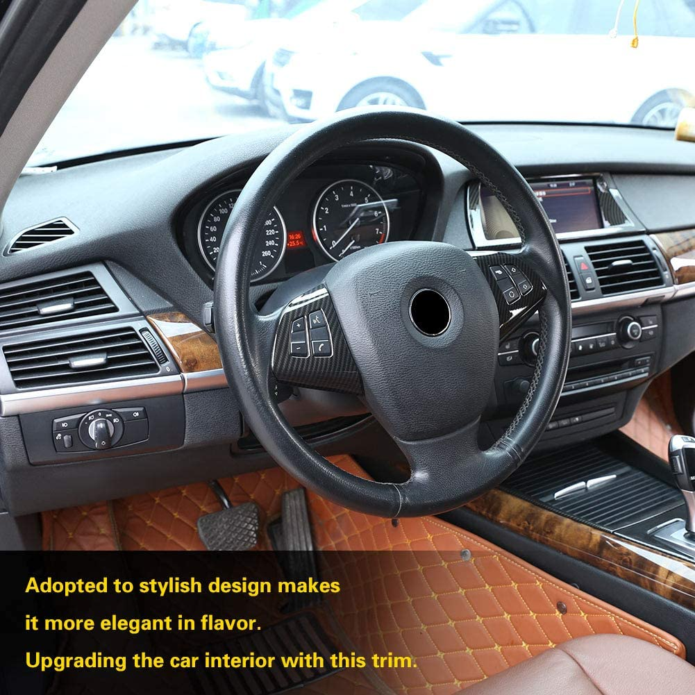 Qiilu Carbon Fiber Steering Wheel Button Frame Cover Trim Stickers Inner Wheel Button Decoration Cover Decal for BMW X5 E70 2008-2013