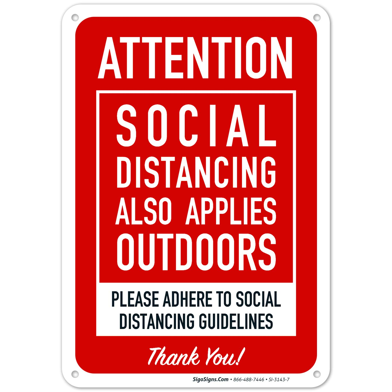 Social Distancing Outside Warning Sign 4mm flutted correx