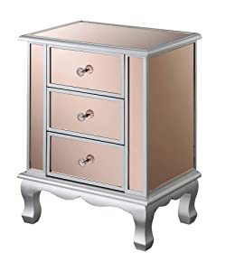 Convenience Concepts 413359CPKSS Gold Coast Vineyard 3-Drawer Mirrored End Table, Rose/Silver,