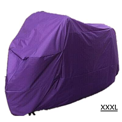 XXXL Portable Universal Teffeta Rainproof Survival Motorcycle Cover, Weather Protection Anti-Sunlight UV Wind Rain Sand Outdoor Coldproof Parking Protection Purple (XXXL): Automotive
