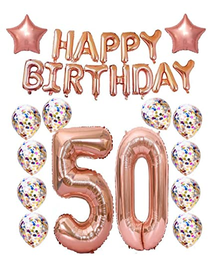Mity Rain 50th Birthday Decorations Party Supplies50th Balloons Rose GoldRose Gold