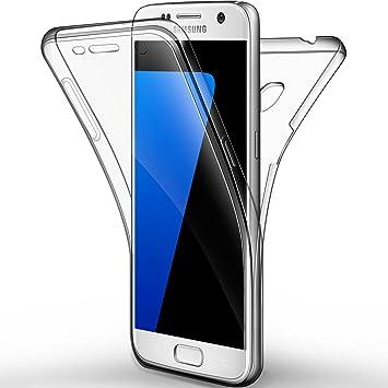 Galaxy Galaxy S7 Funda, Leathlux Cover Galaxy S7 Gel Silicona Carcasa Transparente TPU full Protección Delanteros y Traseros Case para Samsung Galaxy ...