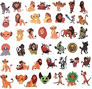 Cartoon Movie Lion King Themed 40 Piece Sticker Decal Set for Kids Adults - Laptop Motorcycle Skateboard Decals