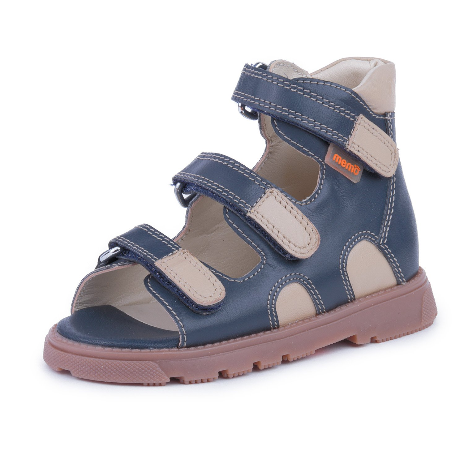 Memo Apollo 3DA Boy's High-Top Ankle Support Orthopedic Leather Sandal, 23 (7T)
