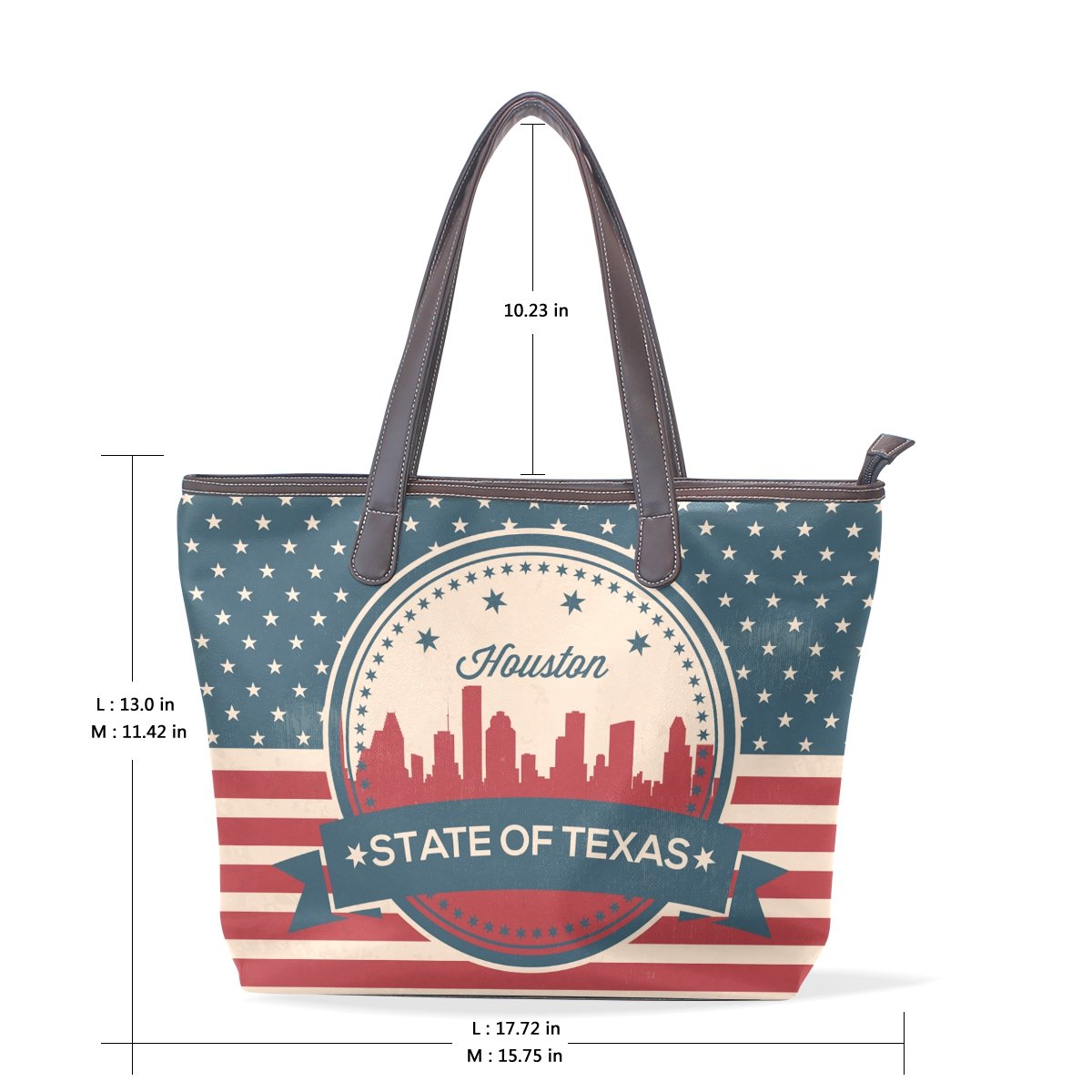 Vintage American Flag Texas State Houston Skyline Womens Fashion Large Tote Ladies Handbag Shoulder Bag