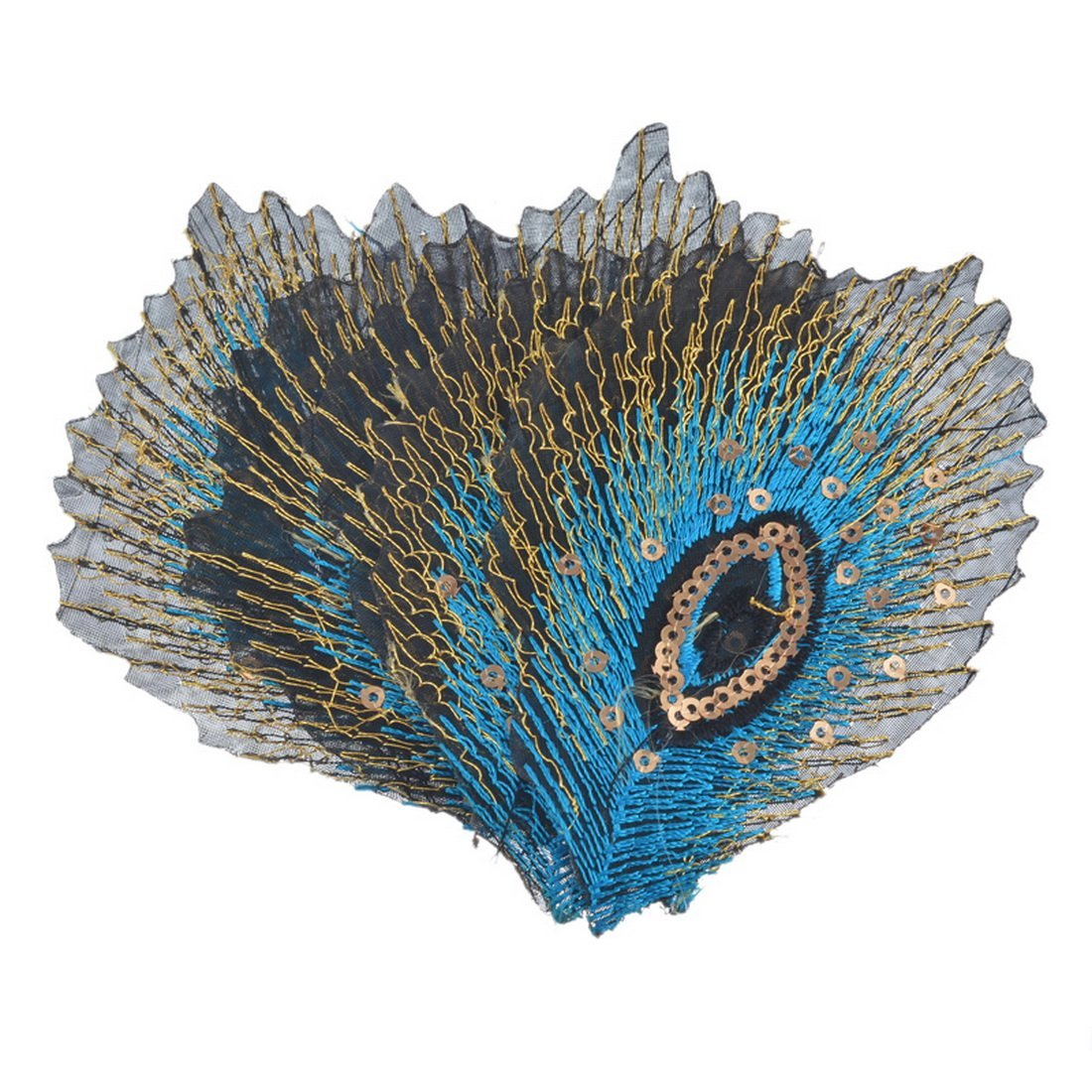 Souarts /Écusson Brod/é Patch Thermocollant Plumes de Paon Sequins pr DIY Denim Fabric Bleu Clair 5Pcs