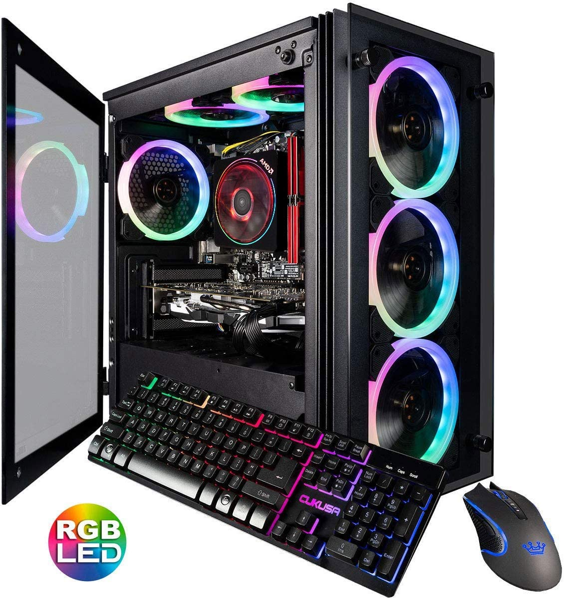 CUK Stratos Micro Gaming Desktop (AMD Ryzen 5 3600, 16GB DDR4 RAM, 512GB NVMe SSD, NVIDIA GeForce GTX 1650 Super 4GB, 600W Gold PSU, Windows 10 Home) Gamer PC Computer