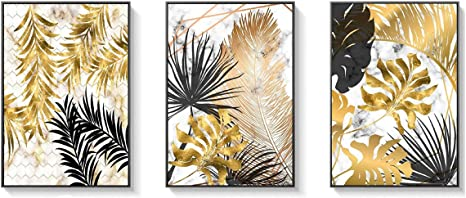 3 Pcs Simple Unframed Palmetto Leaf Canvas Prints Wall Pictures Painting M