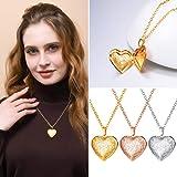 Flower Grain Heart Locket Necklace That Hold