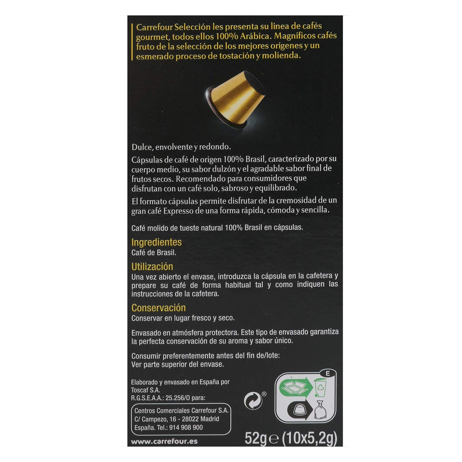 1 Pack Carrefour Coffee Pods - Brasil Espresso Flavor - Capsules Compatible with Nespresso Machine - Made in Spain - 10 Single Serve Capsules: Amazon.com: ...