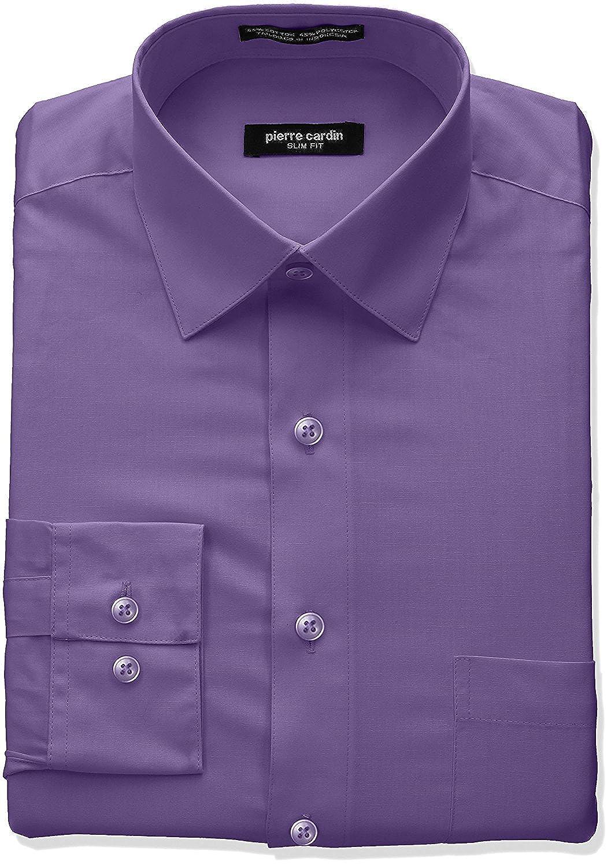 Pierre Cardin Mens Slim Fit Long Sleeve Solid Dress Shirt Colors