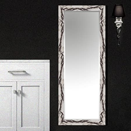 Elegant Arts & Frames Home White Marble Texture Wall Mounted Decorative Wood Water Resistant Mirror (L X W x H) Inch (40 x 16 x 2) Wall Mirrors at amazon