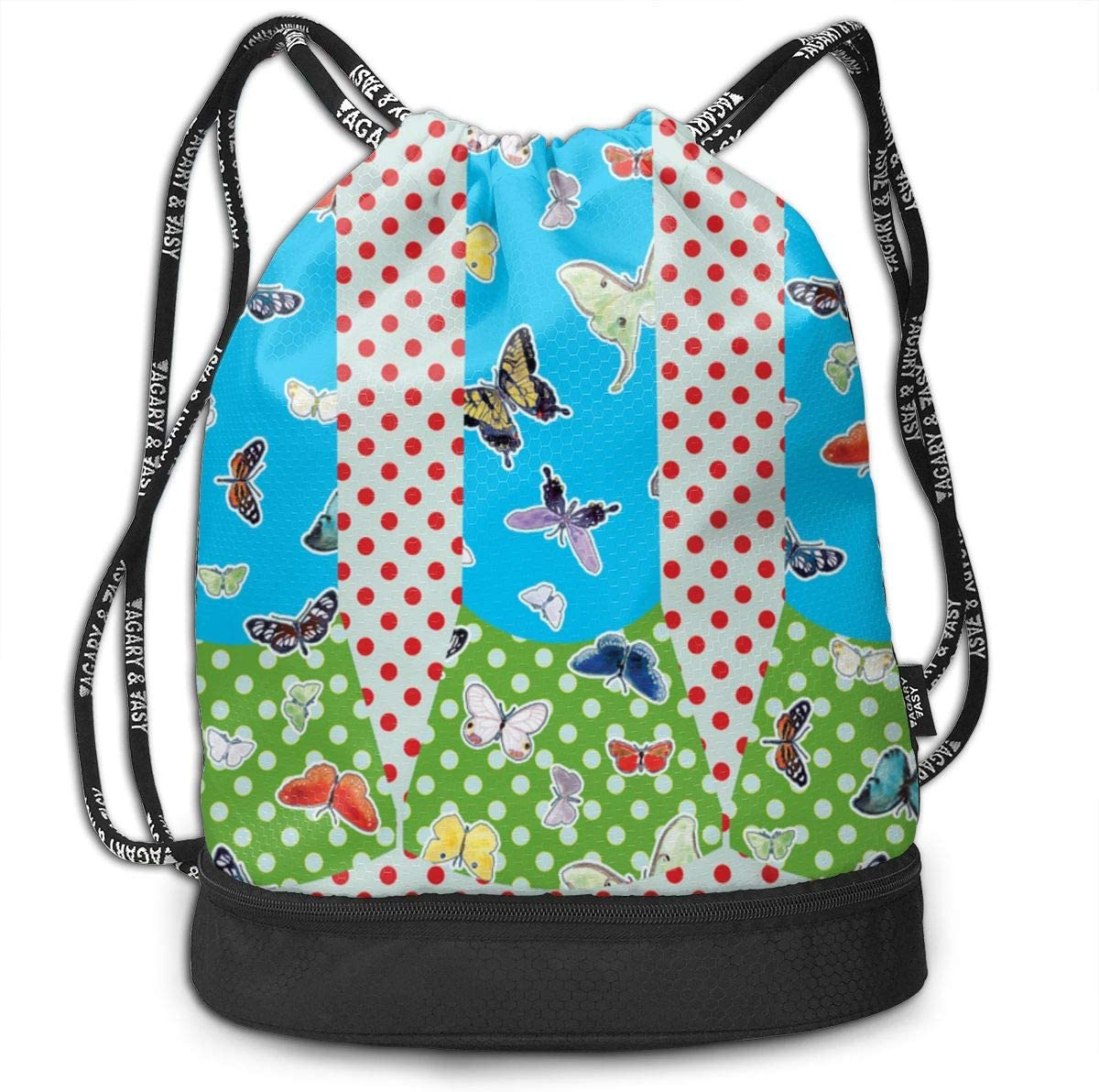 2 Super Easy Girls Trumpet Skirts Knit Only Drawstring Backpack Sports Athletic Gym Cinch Sack String Storage Bags for Hiking Travel Beach