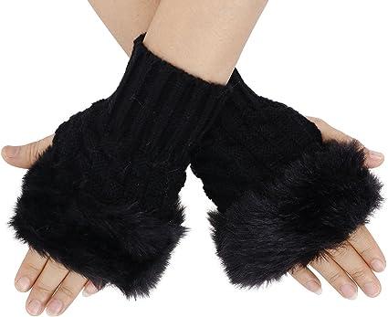 Women Girls Winter Fur Knitted Fingerless Gloves Arm Wrist Warmer Gloves
