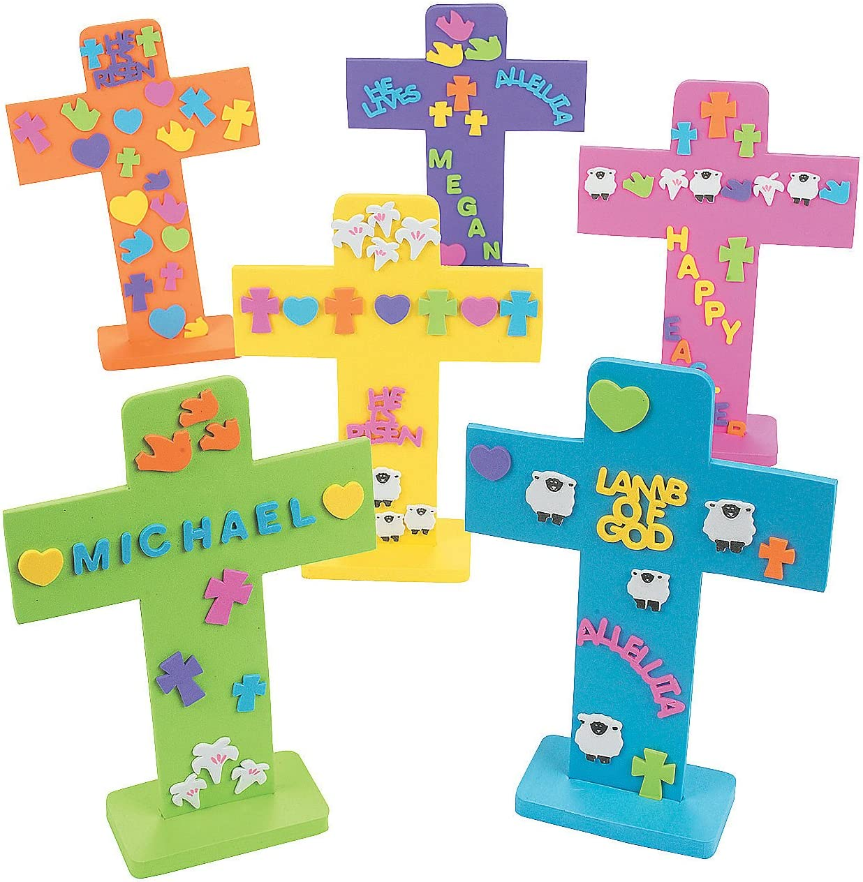 Recycled #1276 Upcycled Easter Cross Party Favors Cross Ornament Nurse Gift Easter Gift Teacher Gift Baptism Gift