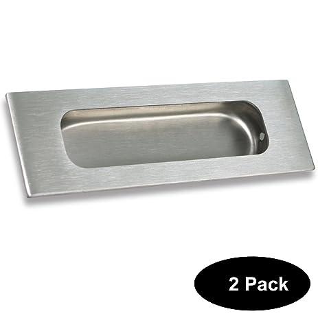 2 pack rectangular flat plate flush recessed sliding pocket door handles 434in