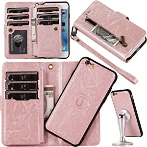 iPhone 8 Detachable Magnetic Wallet Case for Women/Men,Auker iPhone 7 9 Card Holder Purse Folio Flip Vintage Leather Zipper Wallet Case with Strap/Kickstand/Money Pocket&2 in 1 Removal Hard Pc Shell