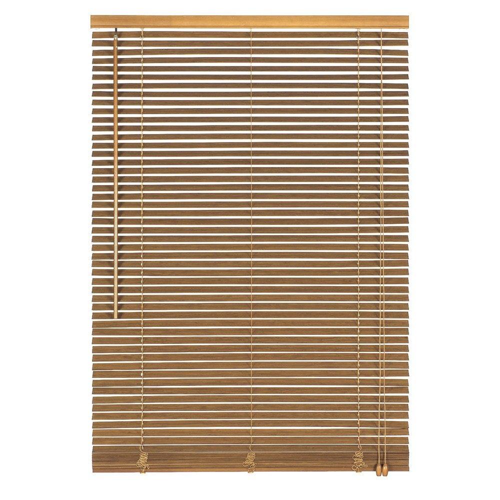 Easy-Shadow Holzjalousie Holz-Jalousie Bambus Jalousette Echtholz Rollo Jalousette 145 x 160 cm   145x160 cm in Farbe eiche - Bedienseite rechts    Maßanfertigung