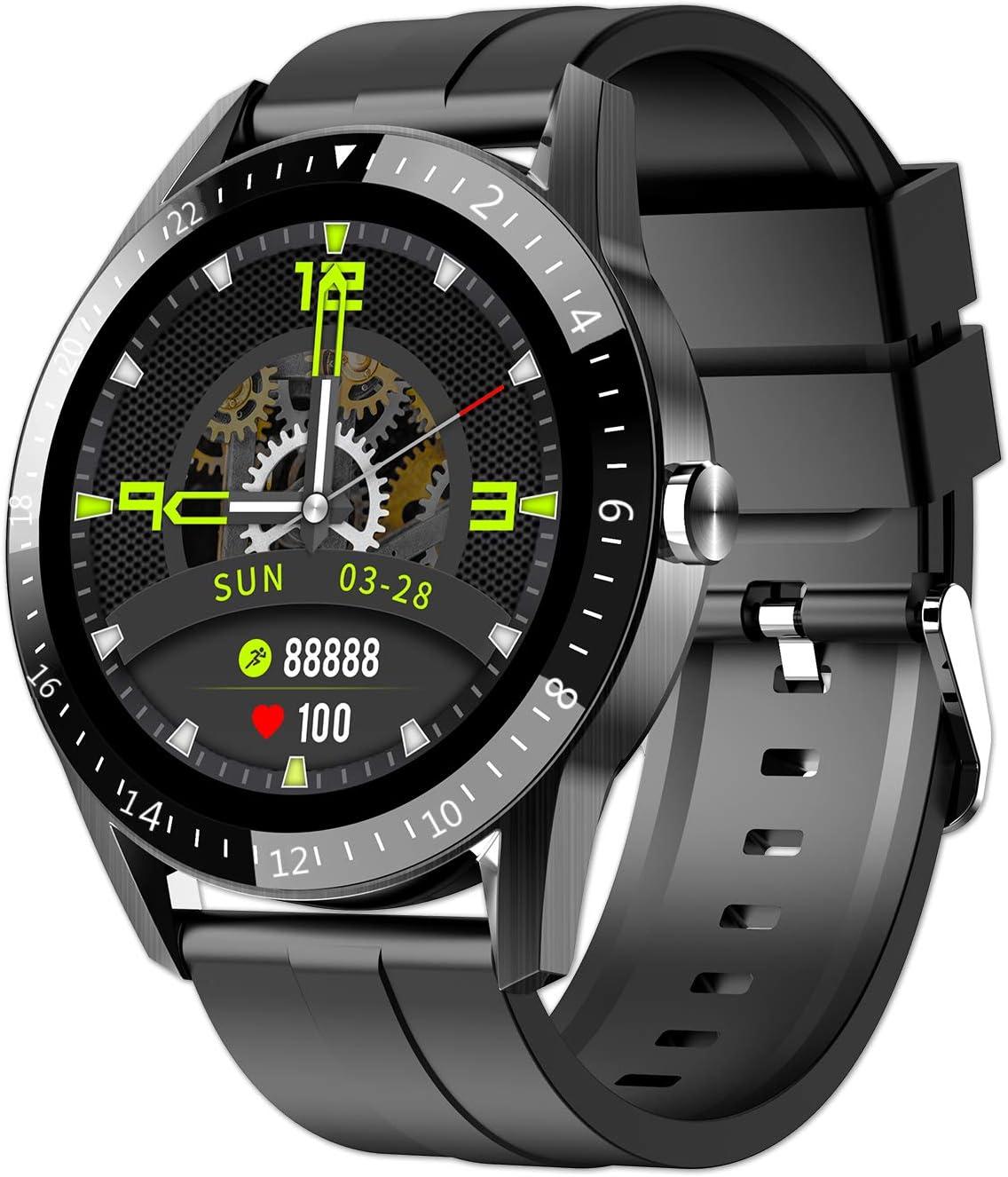 JINPX Relojes Inteligentes Hombre Llamada Bluetooth con Pulsómetro,Podómetro,Monitor de Sueño,5 Modos de Deportes Cronómetrol,Pulsera de Actividad,Smartwatch Inteligentes Hombre para iOS y Android
