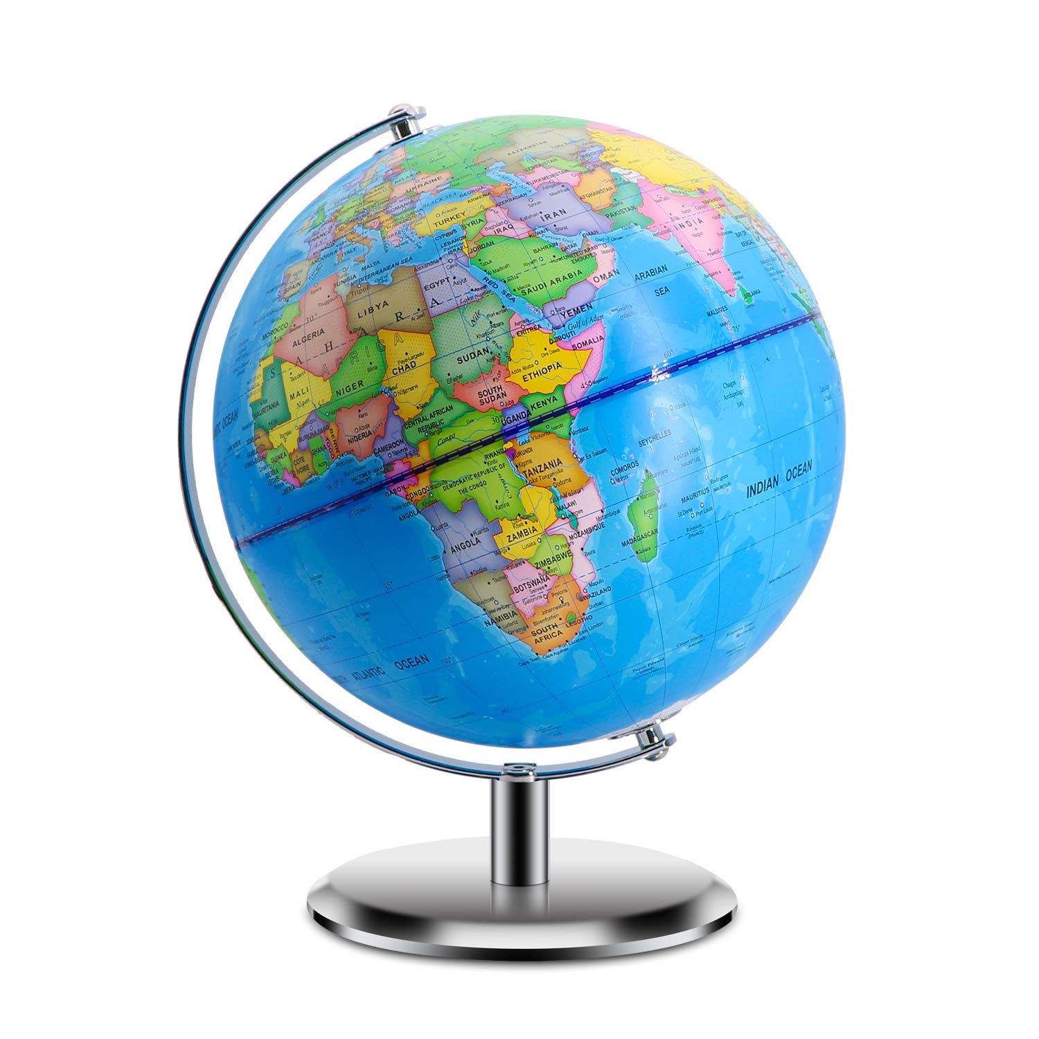 World Globes for Kids - Larger Size 12'' Educational World Globe with Stand Adults Desktop Geographic Gobles Discovery World Globe Educational Toy for Children - Geography Learning Toy (Blue)