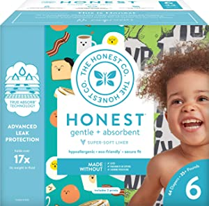 The Honest Company Club Box Diapers with TrueAbsorb Technology, T-Rex & Breakfast, Size 6, 44 Count