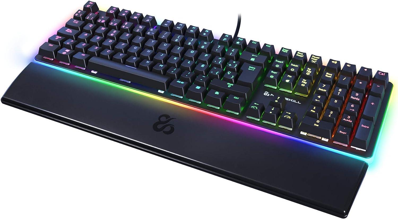 Newskill Suiko Switch Brown - Teclado Mecánico Gaming con Reposamuñecas Incluido (Teclas con grabación Macro, 20 Modos de iluminación RGB) - Color ...