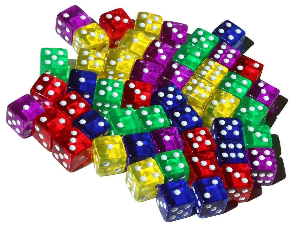 High City Books 50 6-Sided Dice   16mm   5 Colors by High City Books (Image #2)