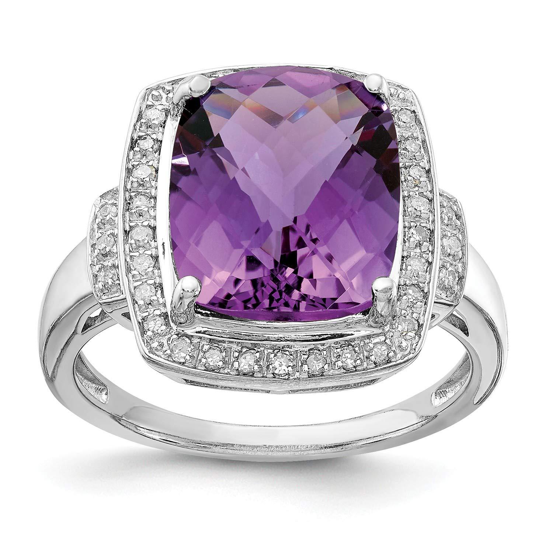 Sterling Silver Diamond /& Amethyst Ring Gem Wt 0.14ct 5.45ct Carat Wt