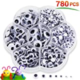 780pcs Googly Eyes with Self-Adhesive, Wiggle Eyes for DIY Scrapbooking Craft Sticker Assorted Sizeszes