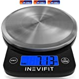INEVIFIT Digital Kitchen Scale, Highly Accurate Multifunction Food Scale 13 lbs 6kgs Max, Clean Modern Black with Premium Sta
