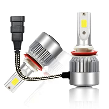 Bombillas con faros LED para coches con chips COB de 7600 lúmenes, 6000 K color