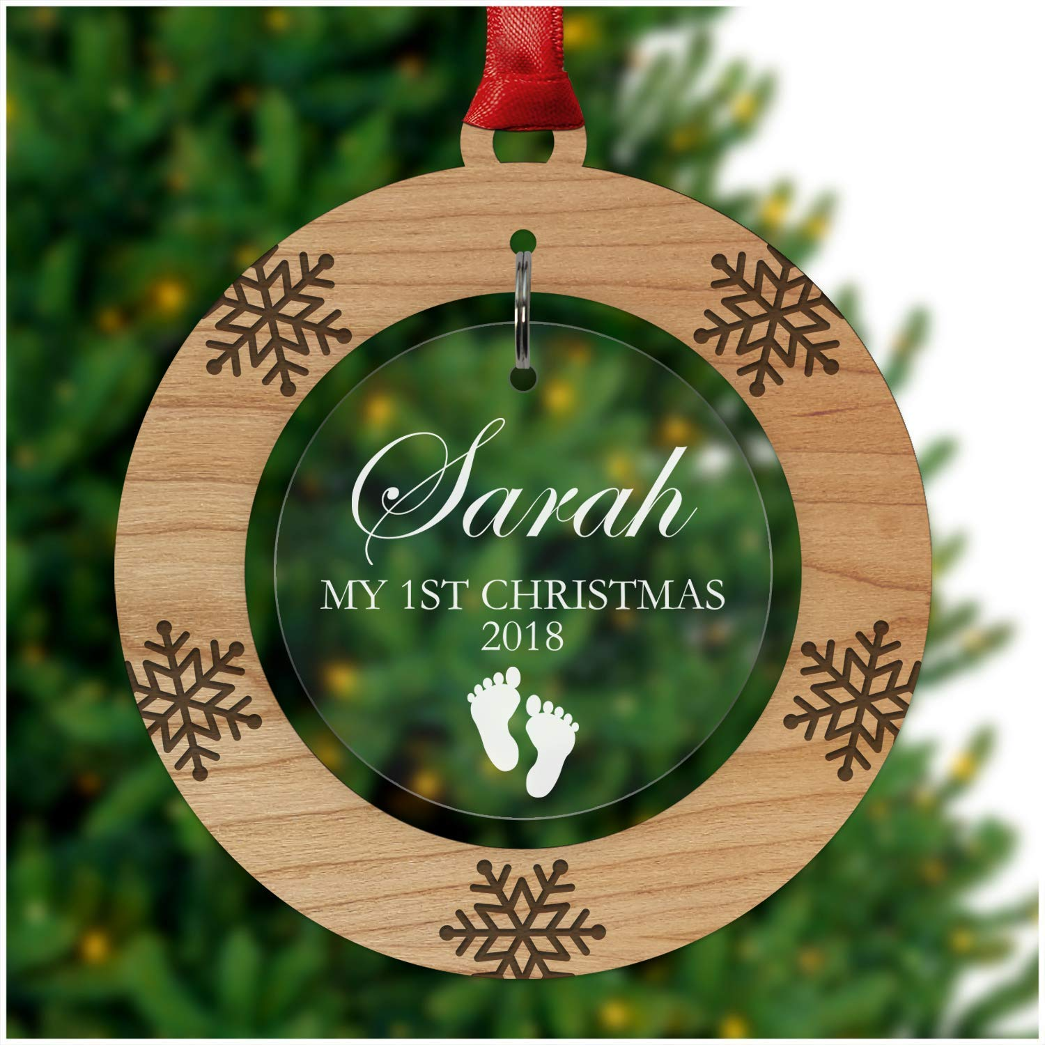 timeless design 3f2fb 81fca PERSONALISED Baby's First Christmas Bauble - Tree Decoration Wooden  Ornament - Custom Babies 1st Xmas Keepsake - Cherry Veneer and Acrylic  Christmas ...