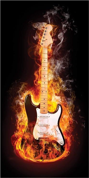 LimeWorks Toalla de Baño, 70x140 cm, Guitarra eléctrica con Fuego ...