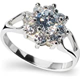 Sterling Silver Brilliant Cut Cubic Zirconia Cluster Ring. Available in all sizes between G and Z+3