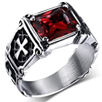 MENDINO Stainless Steel Ring Red Ruby Cubic Zirconia Crystal Celtic Cross Inlay Vintage Vampire Mens Womens with Velvet Gift Bag