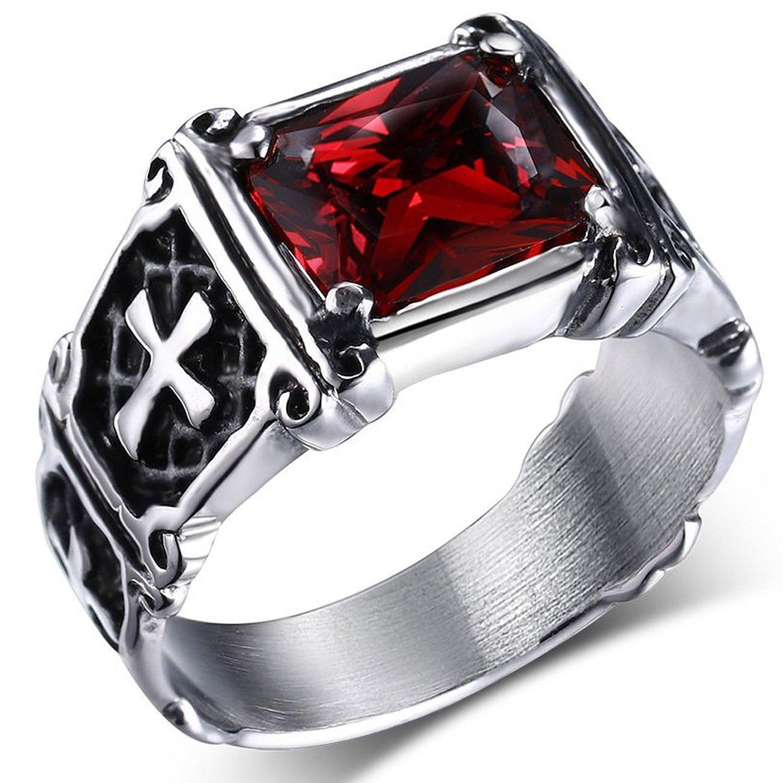 Anillo de acero inoxidable Mendino, con cristal de circonio cúbico rubí e incrustación celta para hombres y mujeres; viene con bolsa de regalo de terciopelo JRG0114RD