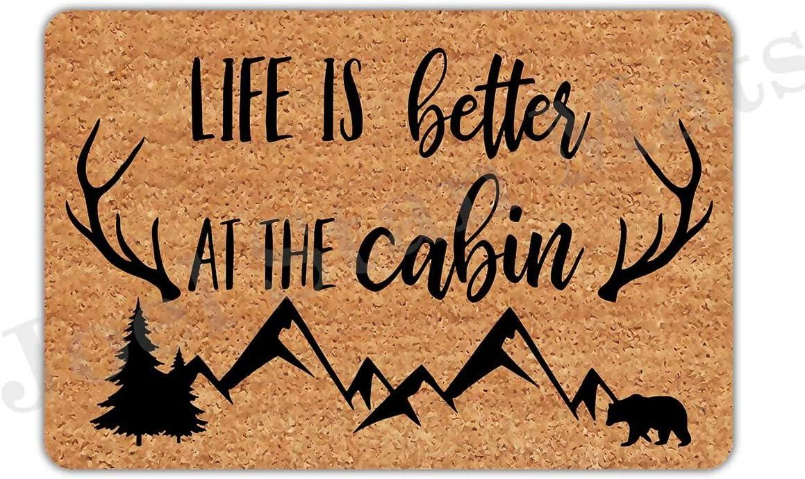 Joelmat Life is Better at The Cabin Entrance Non-Slip Indoor Rubber Door Mats for Front Door/Bathroom/Garden/Kitchen/Bedroom 23.6